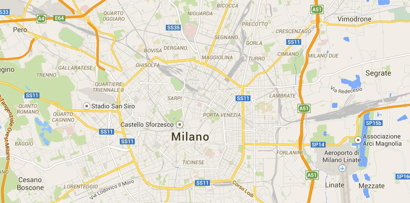 Una cartina della città di Milano