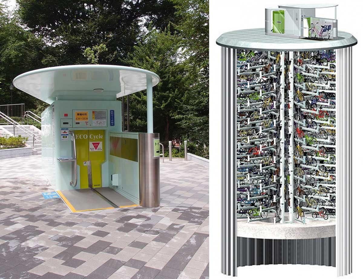 ECO-Cycle il parcheggio sotterraneo per biciclette in Giappone.