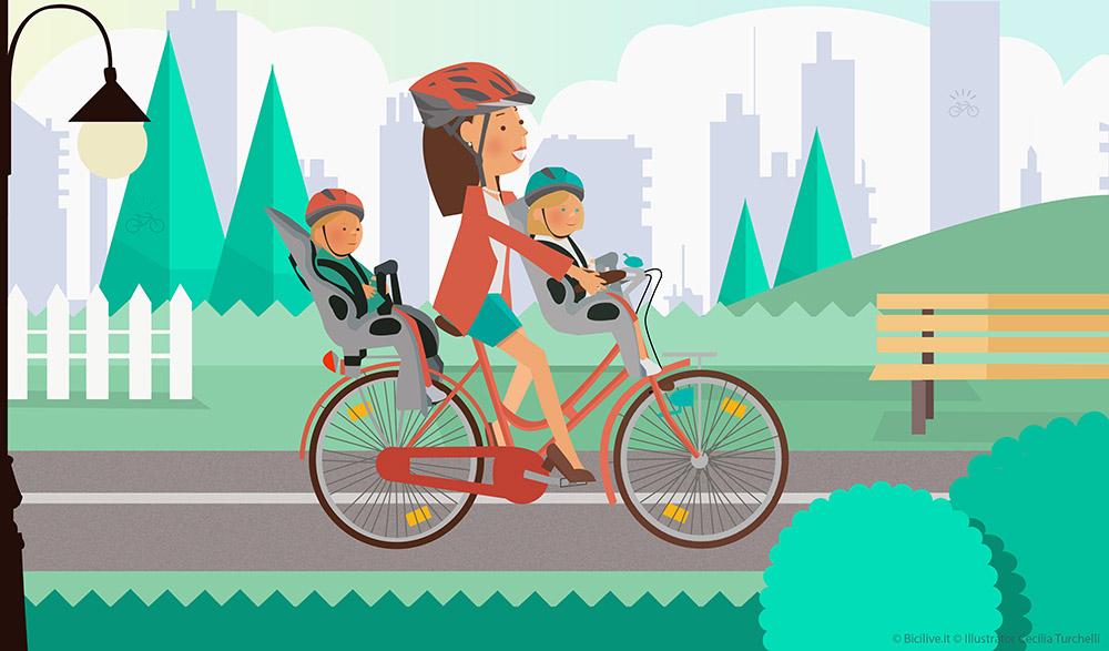 Una mamma in bici con i suoi due bambini, tutti indossano il casco