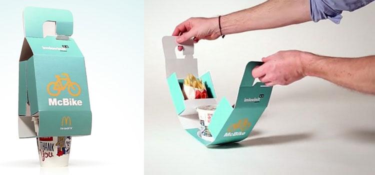 Ecco il McBike, cestino take-away per ciclisti: bibita, patatine e hamburger tutti insieme