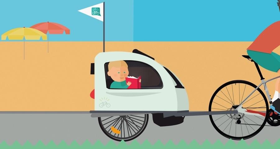 Carrello bici bambino agganciato alla bici del papà mentre è in viaggio