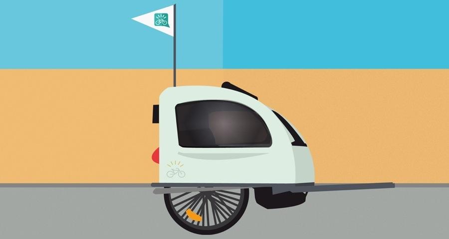 Carrello bici porta bambino: immagine che rappresenta il carrello bici con la bandierina per farsi notare dalle auto