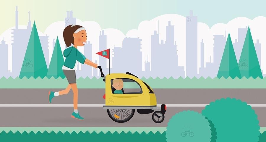 carrellino bici porta bimbo: immagine che rappresenta il carrellino bici in versione running