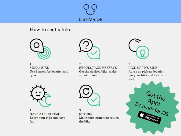 Una immagine di come prendere in affitto una bicicletta usando list-n-ride
