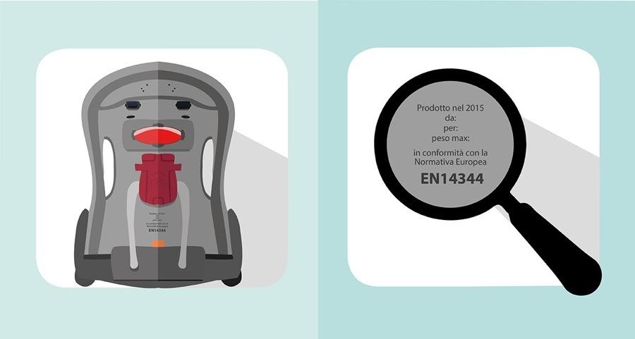 Seggiolino bici, assicuratevi che sia a norma, la foto mostra il retro di un seggiolino bici in cui è impressa la normativa EN 14344