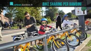 Una foto per il bike sharing per bambini a Milano, BikeMI Junior