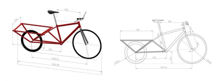 I disegno del progetto della cargo bike Ciclostile