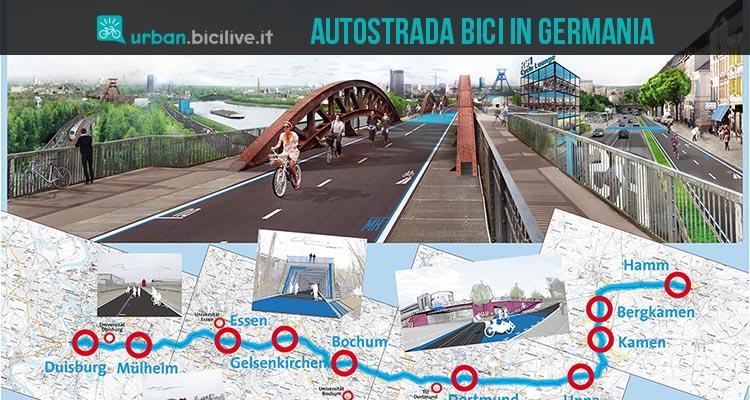 foto che rappresenta un collage tra l'autostrada per bici e il suo itinerario