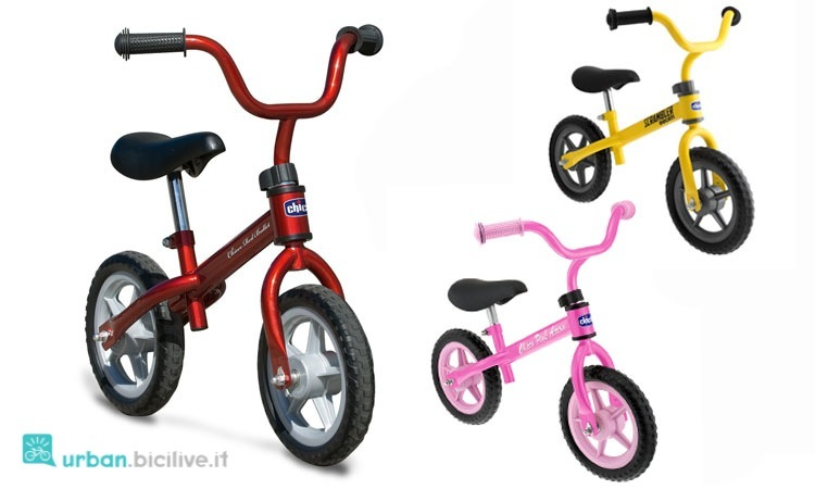 Bici senza pedlai Chicco, da bambino rossa e da bambina rosa.