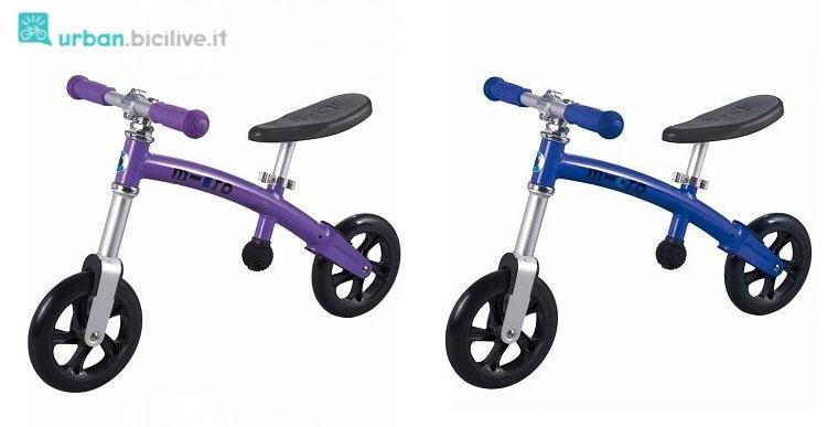 Push bike del marchio Micro GBike in versone viola e blu