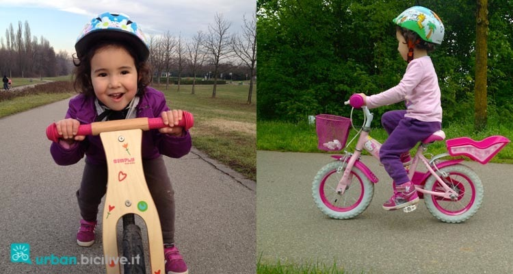 Nella foto si vede sulla sinistra Teresa su una bici senza pedali e sulla destra invece su una bici con i pedali e senza rotelle.