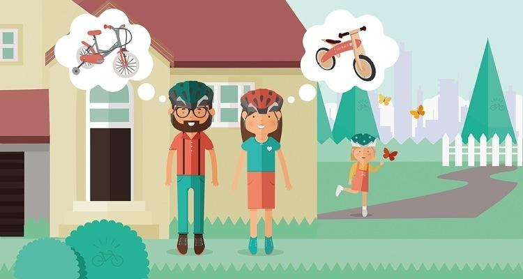 illustrazione di una famiglia di ciclisti nella decisione da prendere sulla bici per la figlia