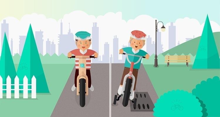 Nell'immagine si vedono due bambini sulle loro bici: a sinistra il bimbo con la bici senza pedali si diverte senza problemi, a destra quello con la bici con le rotelle rimane incastrato con una rotella in un tombino.