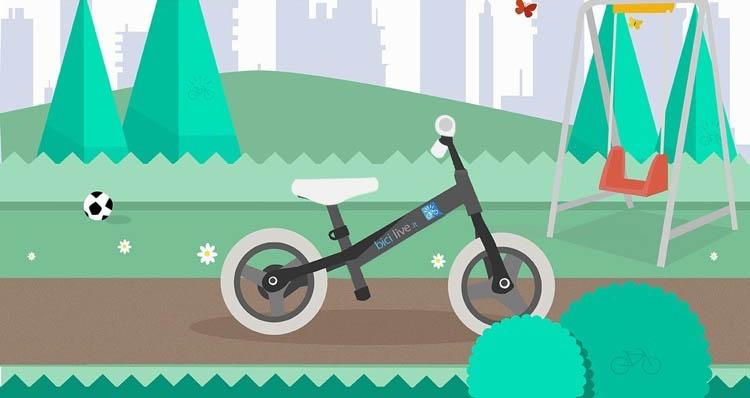Nell'immagine è mostrata una bici senza pedali in metallo per bambini da 2 a 5 anni.