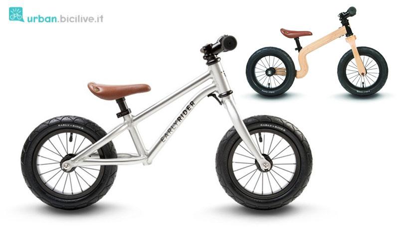 La bici senza pedali di EarlyRider Alley Runner e il modello Bonsai in legno lamellare