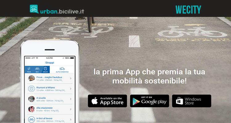 WeCity è un'app per guadagnare denaro usando la bici e i mezzi pubblici