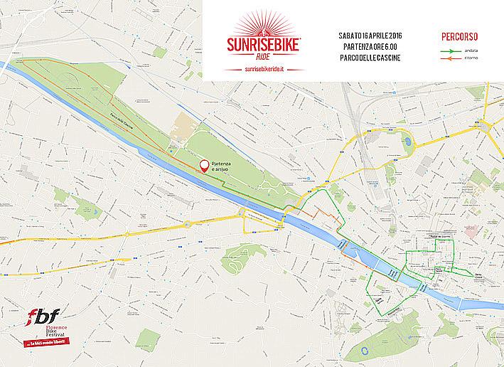 Il percorso della Sunrise Bike Ride nel centro storico di Firenze