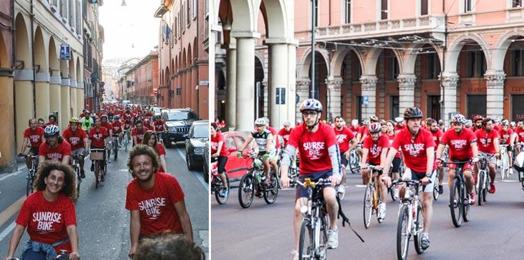 SunRiseBike Ride si svolge in diverse città tra cui Firenze, Milano, Bologna e Valencia