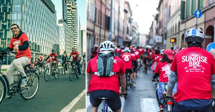 Alcuni ciclisti tra il nuovo skyline di Milano e lungo le strade del centro di Bologna