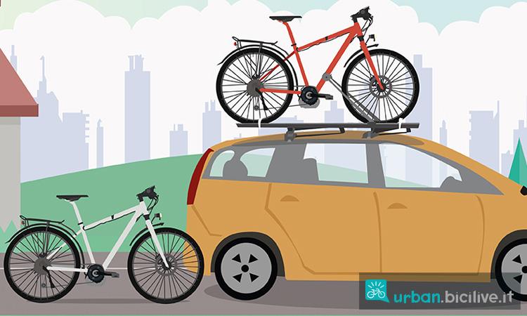 un auto con un portabici e due biciclette prive di accessori