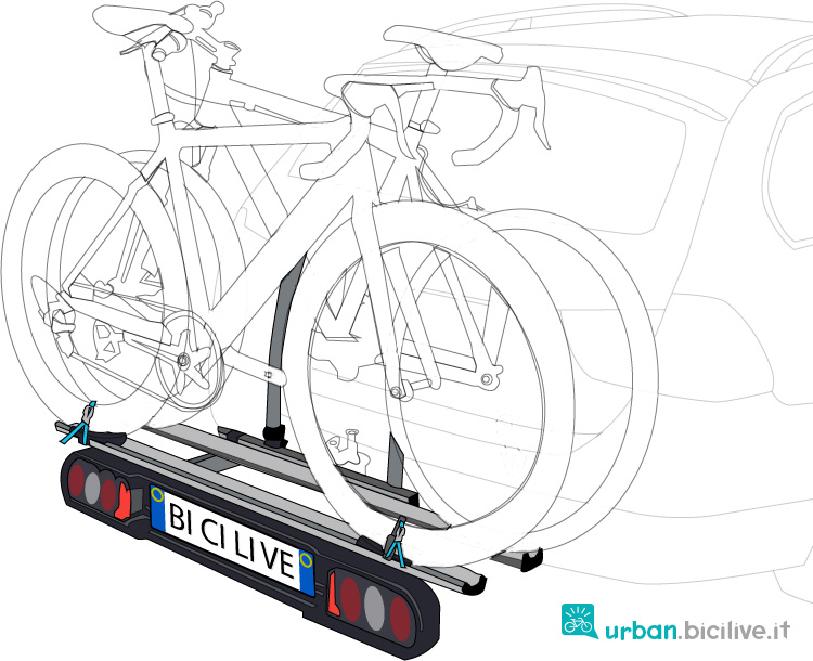 porta bici da gancio posteriore montato