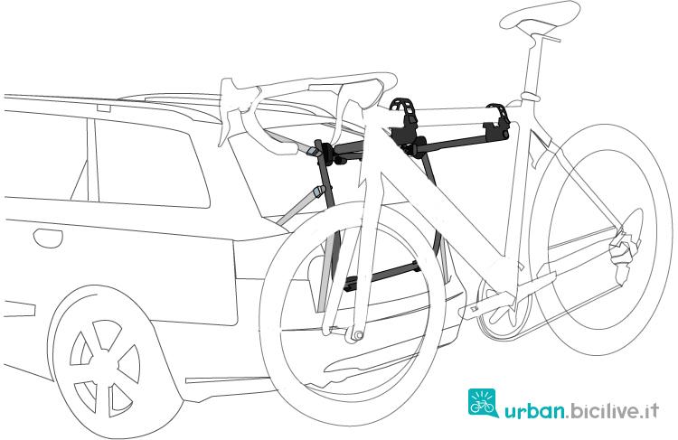 porta bici posteriore fissato al portellone