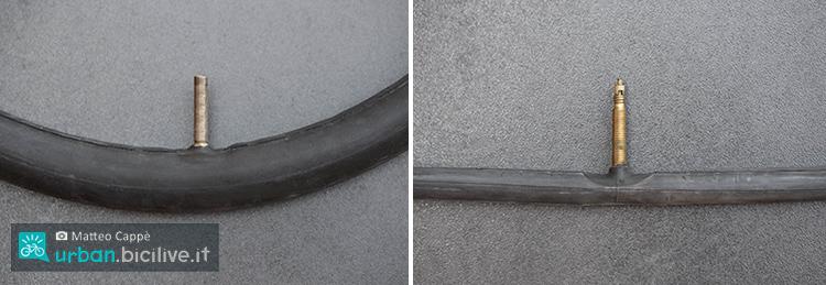 foto della valvola schrader e valvola presta delle biciclette