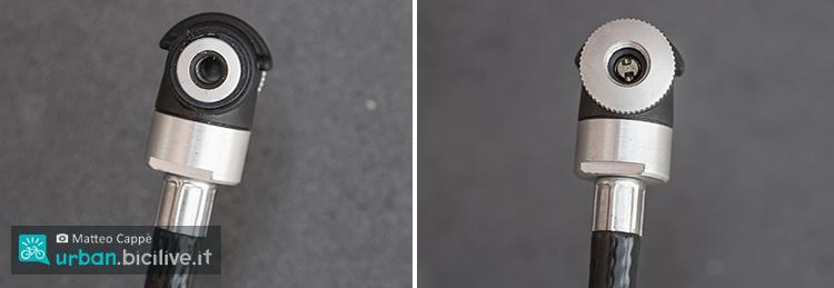 foto delle due valvole della pompa per biciclette
