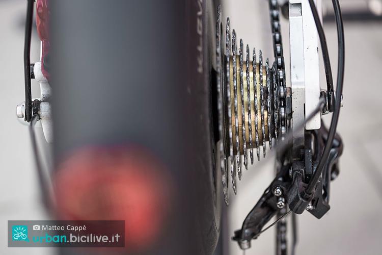 foto della catena sull'ultimo pignone della cassetta.