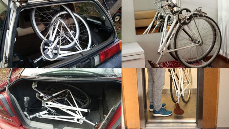 La bicicletta pieghevole a scatto fisso Fubi Fixie ripiegata