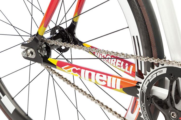 Un particolare del posteriore della bicicletta Cinelli Vigorelli HSL