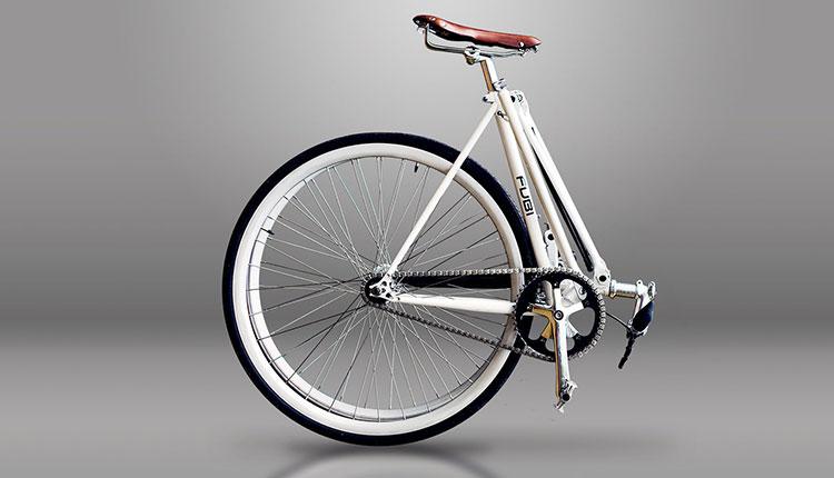 La bici a scatto fisso Fubi Fixie in posizione piegata
