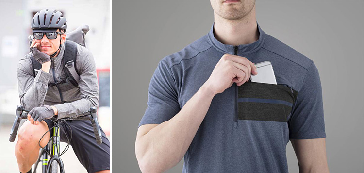 un ciclista indossa una maglietta con tasca porta smartphone della linea Shimano Transit