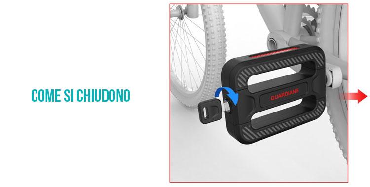 Instruzioni su come chiudere i pedali lucchetto Bicycle Guardians