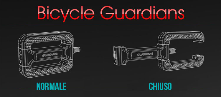 Pedali Bicycle Guardians nello stato normale e chiuso