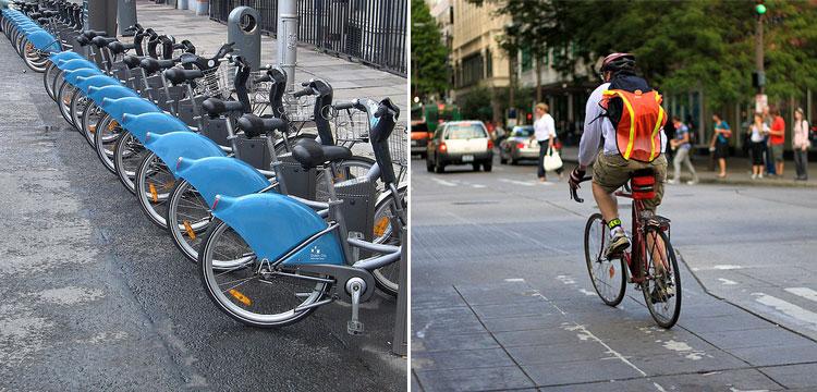 il servizio di car sharing ed un ciclista urbano