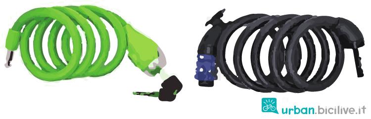 antifurto a spirale con combinazione e con chiave
