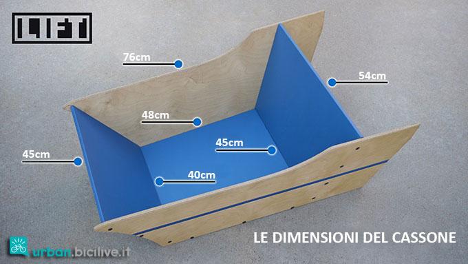 Il cassone in legno in dotazione al modulo LIFT