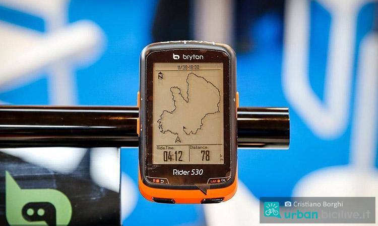 foto del ciclocomputer con GPS Bryton Rider 530 durante eurobike 2016