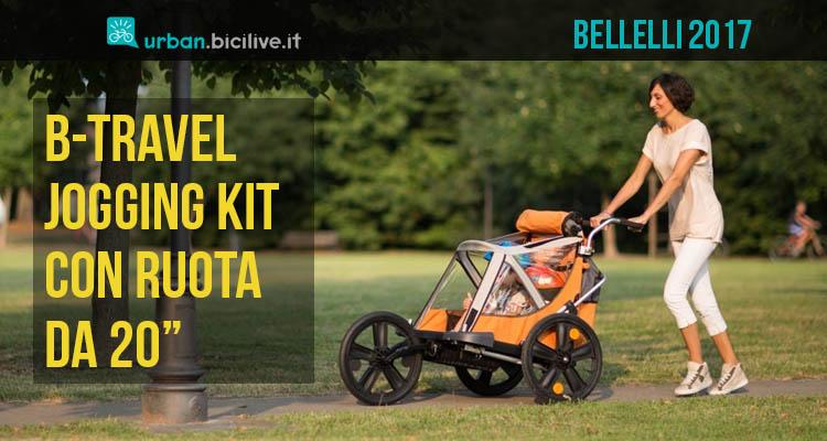 Carrello bici porta bimbo per correre e passeggiare di Bellelli, kit Jogging del B-Travel