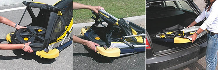 Sistema per richiudere il carrello bici bambino Bellelli B-Travel