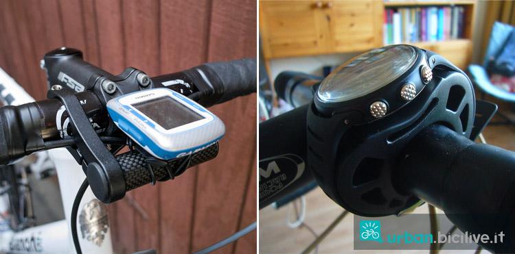 diversi tipologie di fissaggio al manubrio di un dispositivo GPS