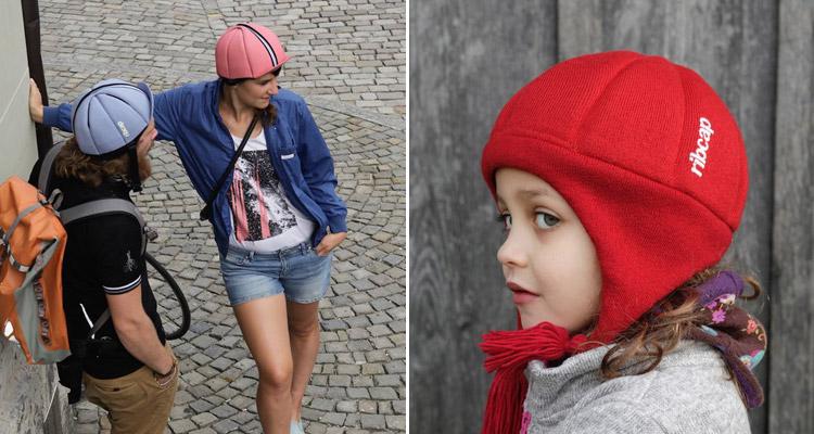 dei ciclisti e un bambino con il cappello protettivo ribcap tucano urbano