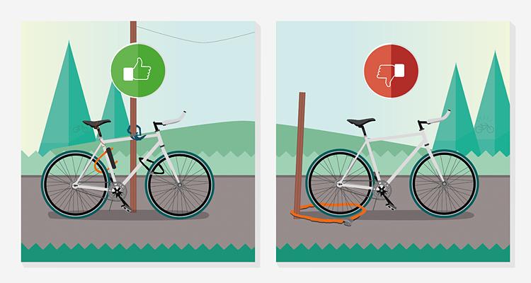 biciclette legate con catene, spirali e bloster contro i furti