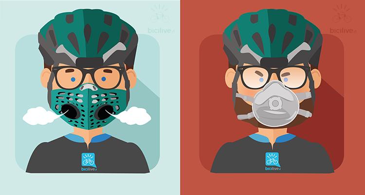 un ciclista con una maschera anti smog con valvole di esalazione