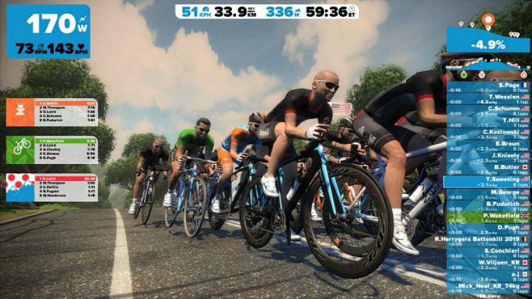 Zwift videogame ciclismo schermata
