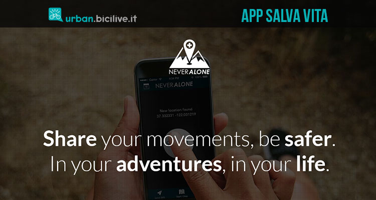 NeverAlone app gratuita sicurezza ciclisti