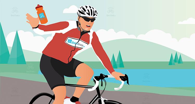 un ciclista beve acqua durante una performance sportiva