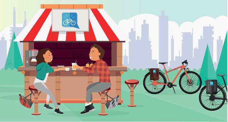 ciclisti si riposano e mangiano durante un giro in bici