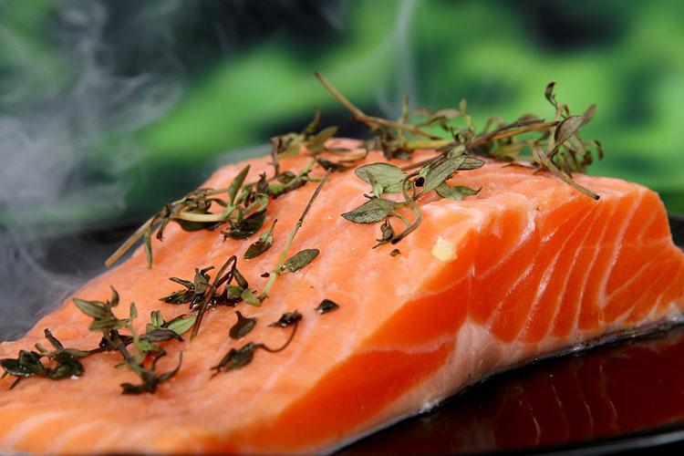 Una fetta di carne di salmone